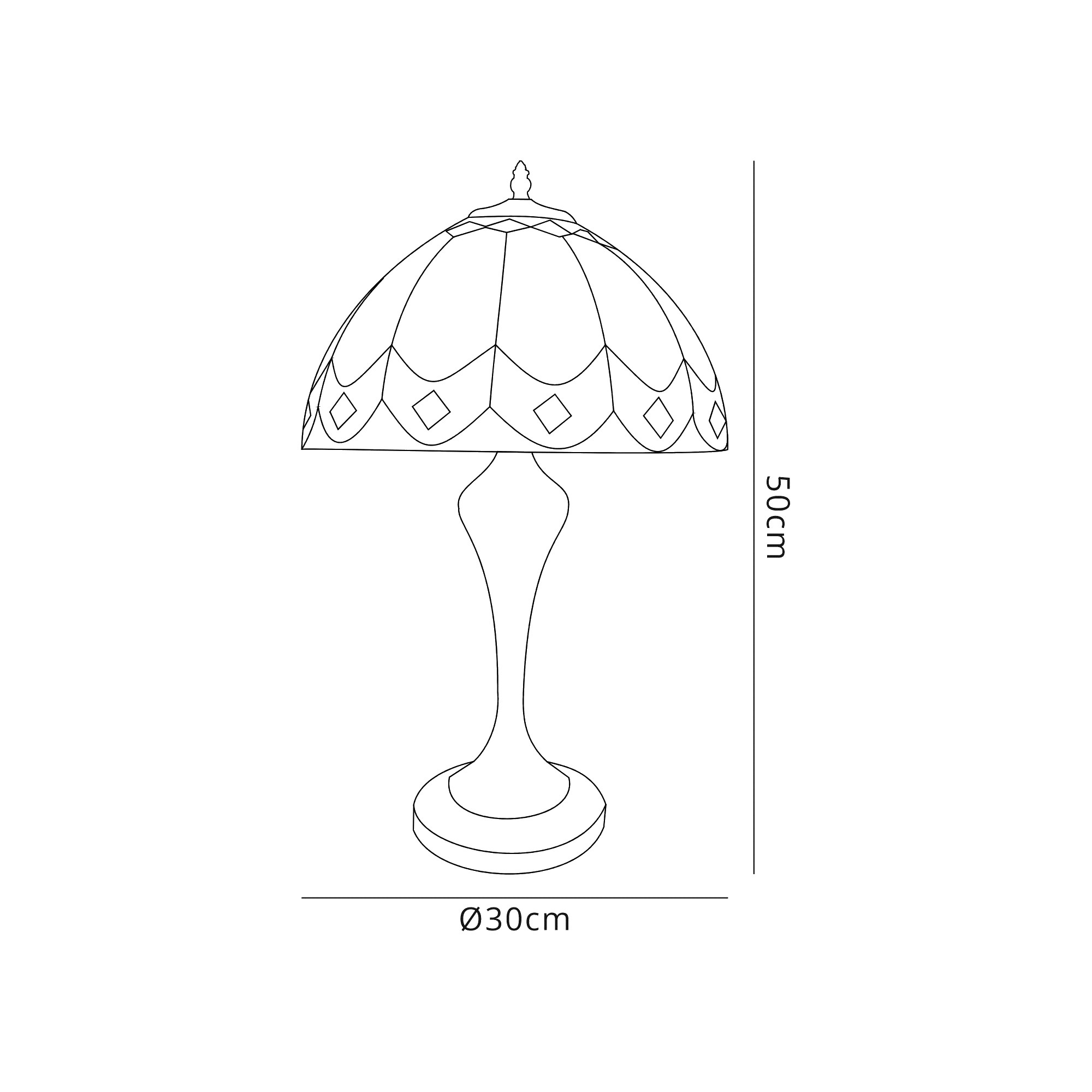 Tiffany Table Lamp, 1 x E27, Aged Antique Brass Base/C/Brown Glass/Clear Crystal