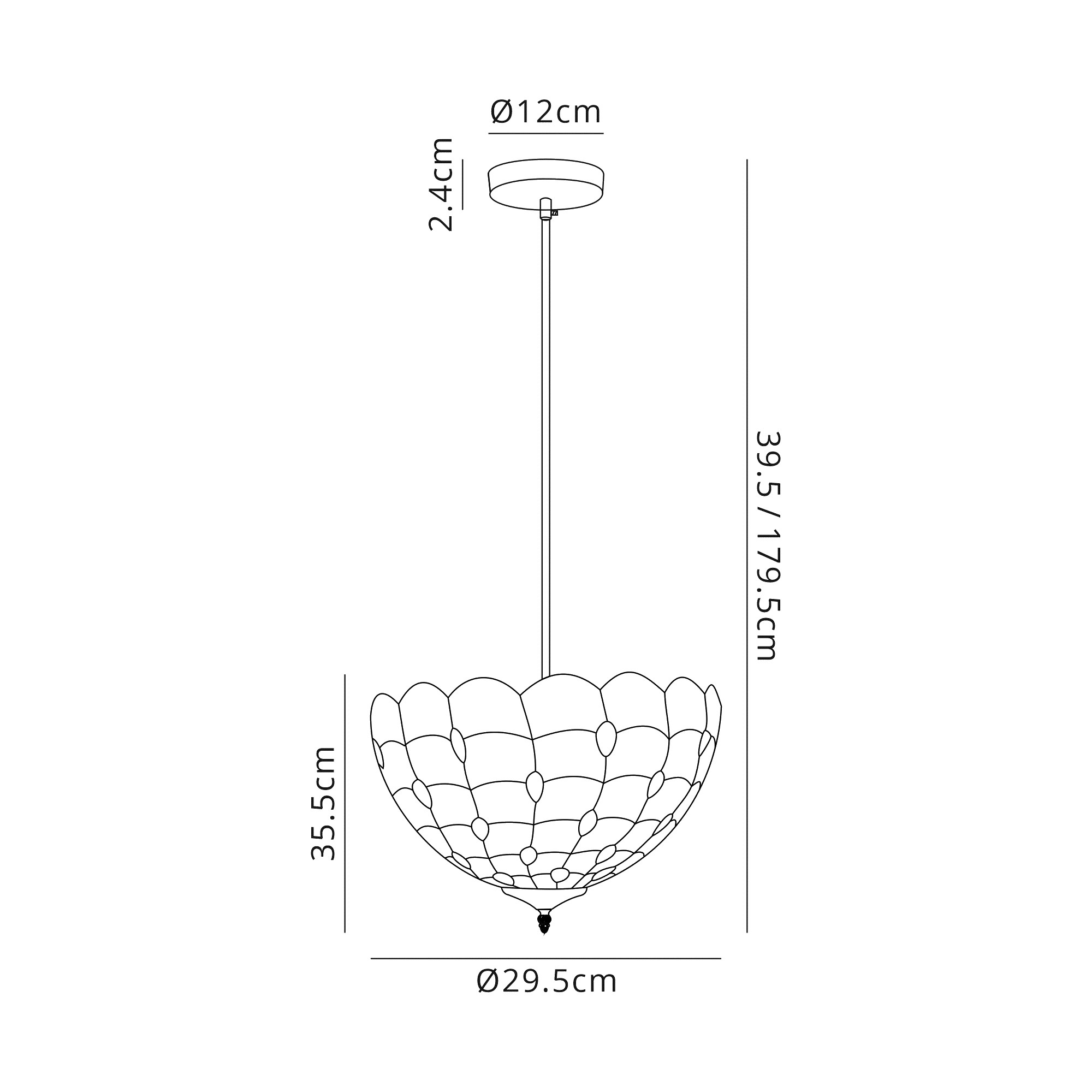 1 Light Uplighter Pendant E27 With 30cm Tiffany Shade, Beige/Clear Crystal/Black
