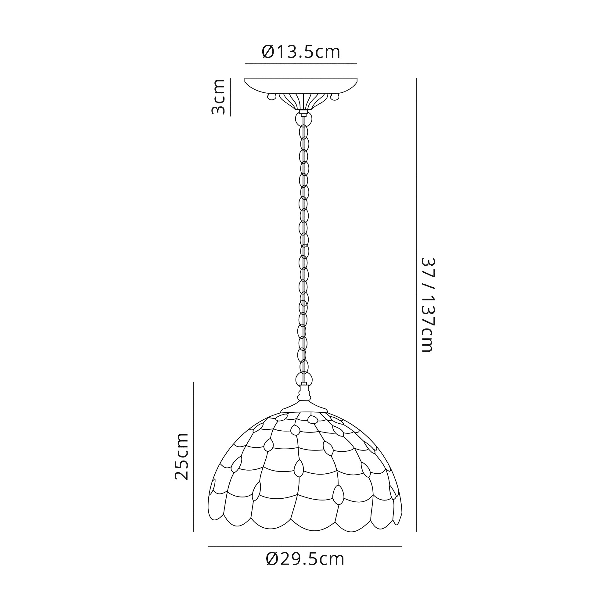 3 Light Downlighter Pendant E27 With 30cm Tiffany Shade, Beige/Clear Crystal/Aged Antique Brass