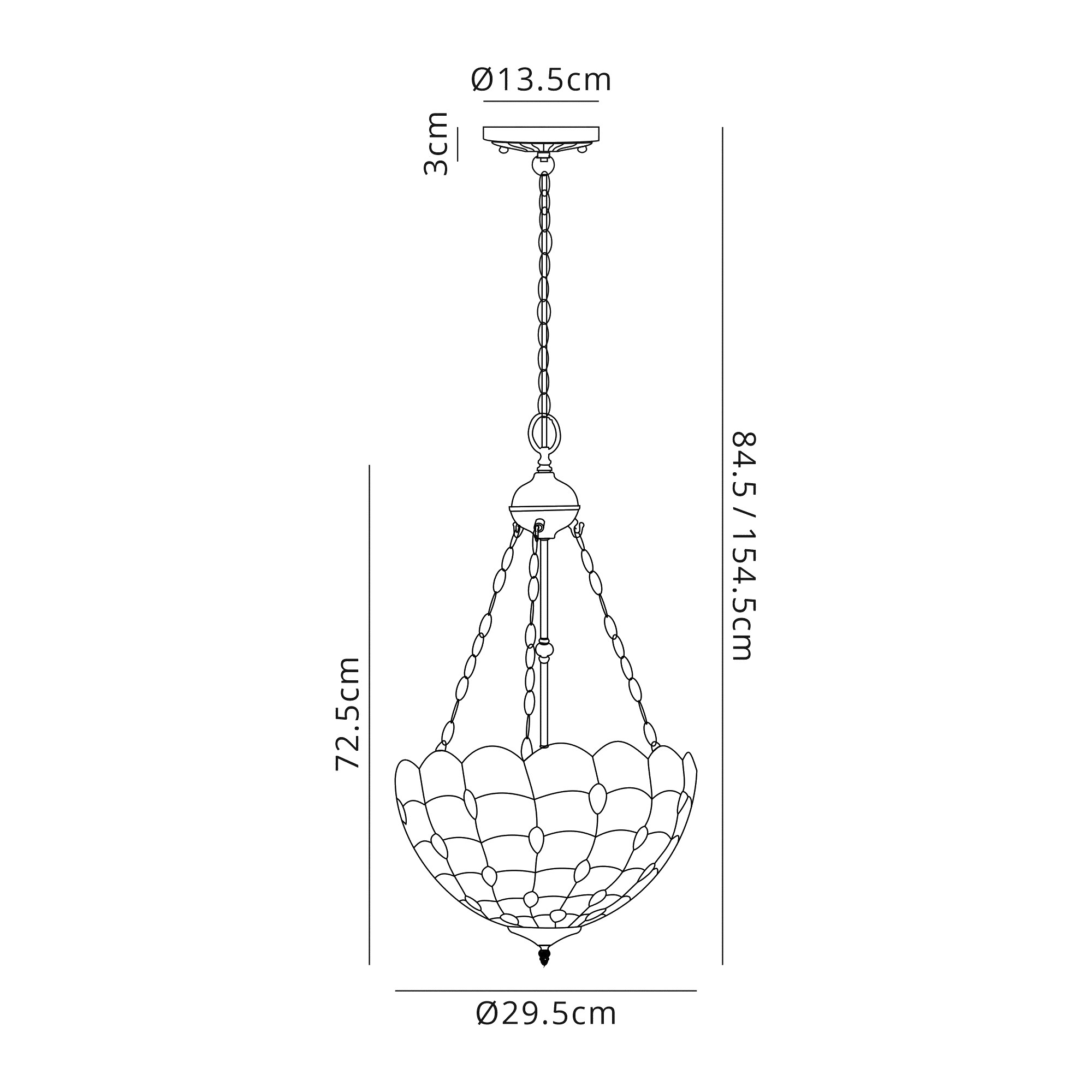2 Light Uplighter Pendant E27 With 30cm Tiffany Shade, Beige/Clear Crystal/Aged Antique Brass