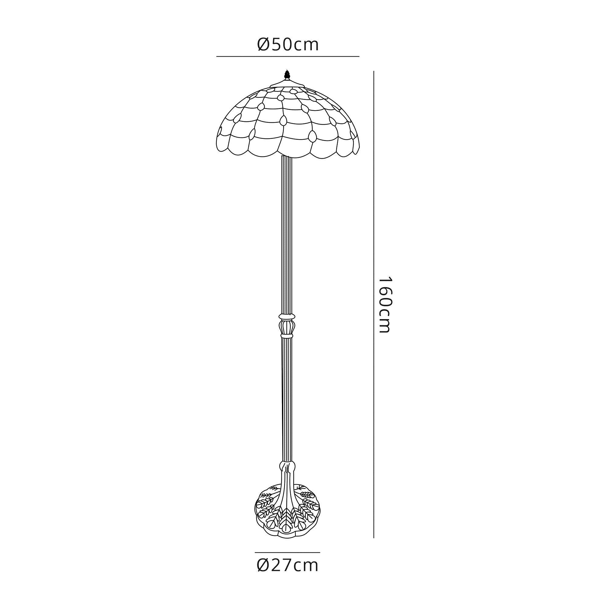 2 Light Leaf Design Floor Lamp E27 With 50cm Tiffany Shade