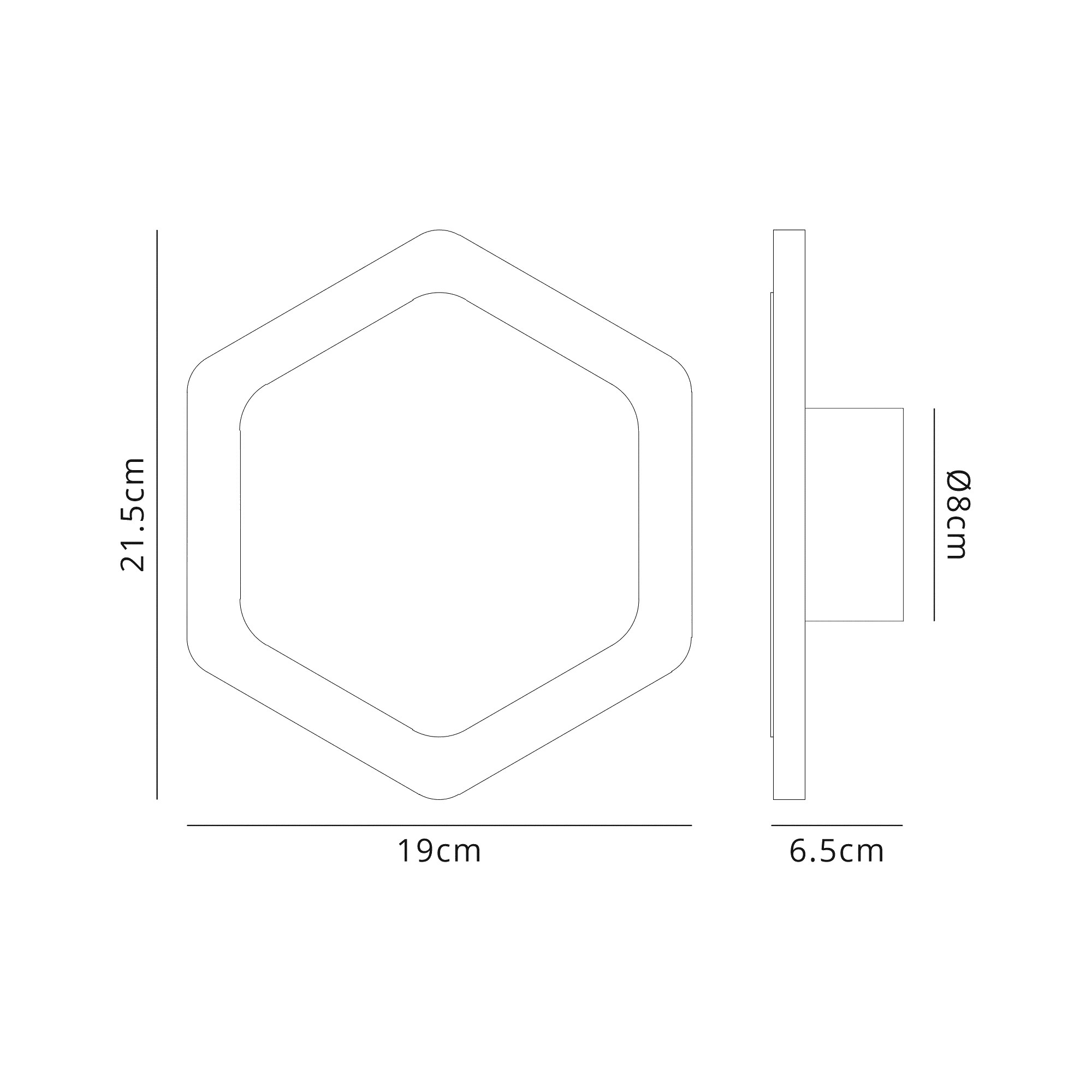 Magnetic Base Wall Lamp, 12W LED 3000K 498lm, 15/19cm Vertical Hexagonal Centre, Frosted Diffuser
