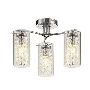 Semi Ceiling Light, 3 x E14, Polished Chrome/Crystal/Glass