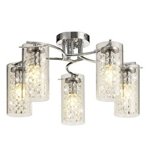 Semi Ceiling Light, 5 x E14, Polished Chrome/Crystal/Glass