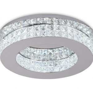 Ceiling Light, 1 x 18W LED, 4000K, 418lm, Polished Chrome/Crystal, 3yrs Warranty