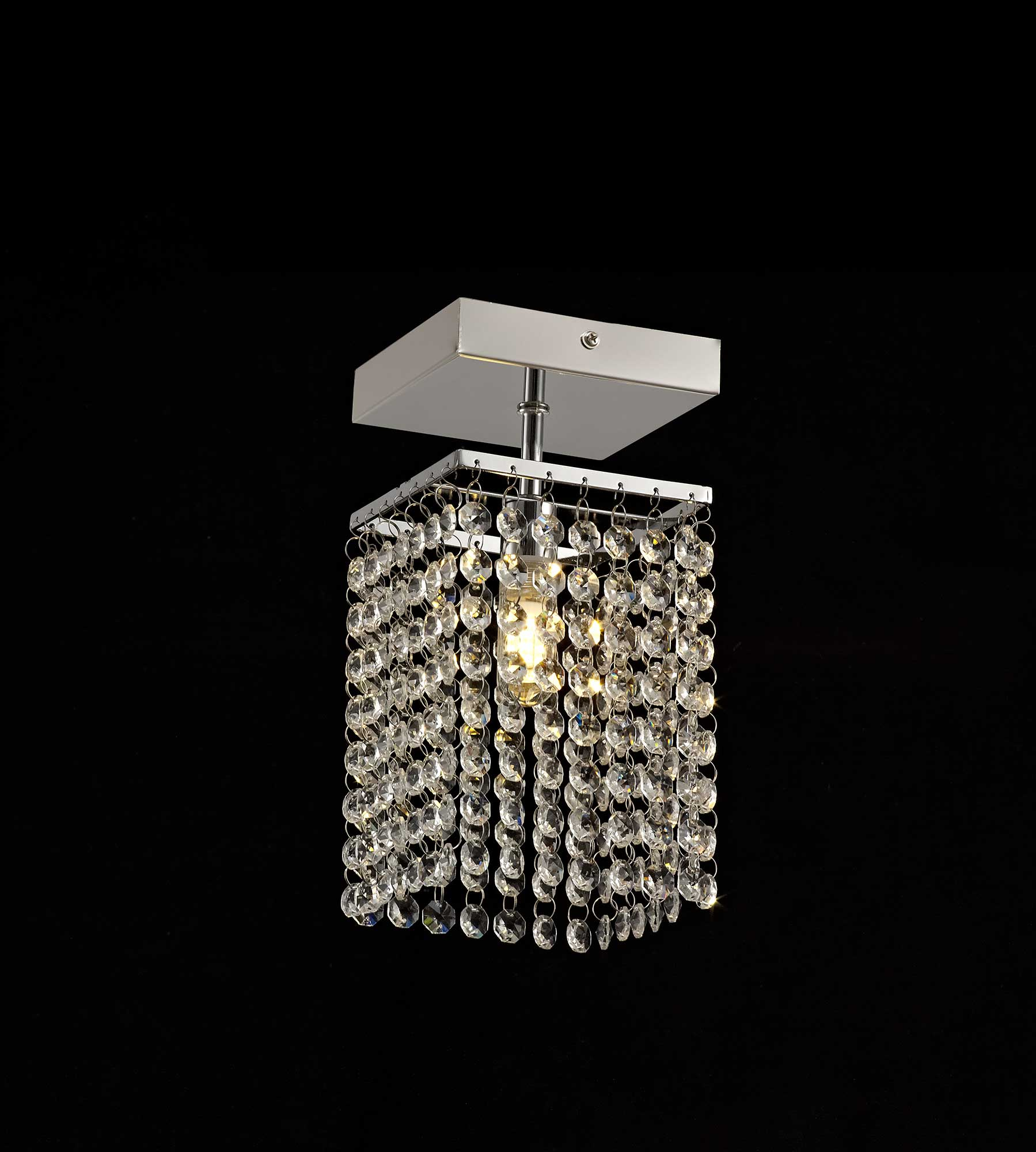 Ceiling Light, 1 x G9, IP44, Polished Chrome/Crystal