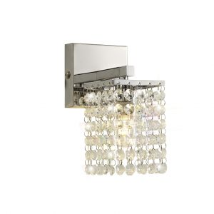 Wall Lamp, 1 x G9, IP44, Polished Chrome/Crystal