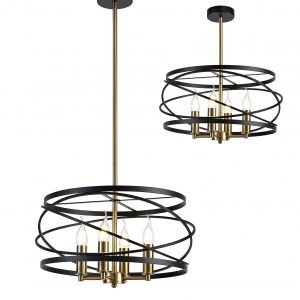 Pendant, 4 x E14, Black/Satin Gold