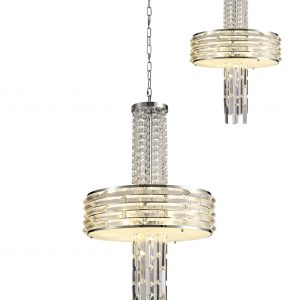 Pendant/Semi Ceiling Convertible, 7 x E14, Polished Chrome/Crystal