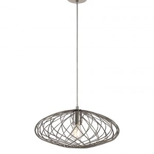 Elliptical Sphere Pendant, 1 x E27, Polished Nickel