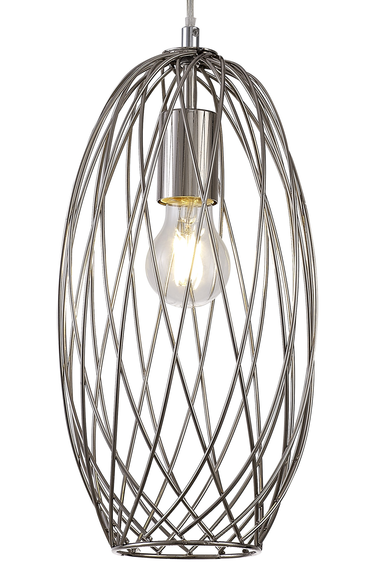 Curved Cylinder Pendant, 1 x E27, Polished Nickel