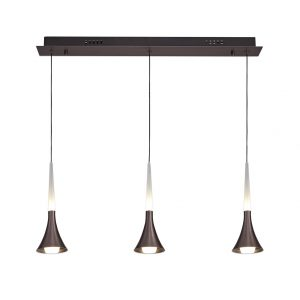 3 Light Linear Pendant, 3 x 5W LED, 3000K, 431lm, Satin Brown, 3yrs Warranty