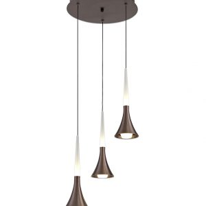 3 Light Round Pendant, 3 x 5W LED, 3000K, 447lm, Satin Brown, 3yrs Warranty