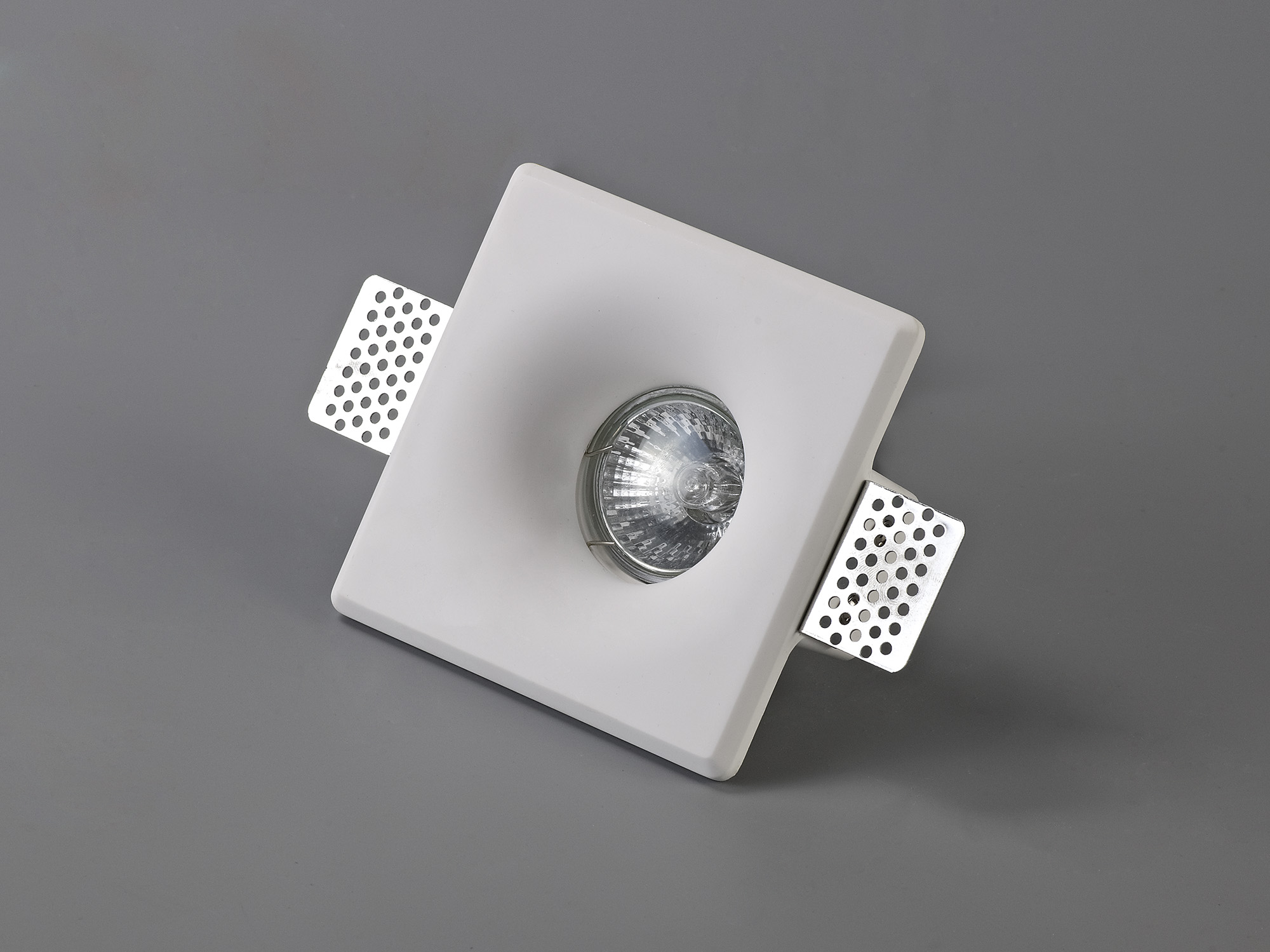 Square Deep Recessed Spotlight, GU10, White Paintable Gypsum, Cut Out: L:123mmxW:123mm