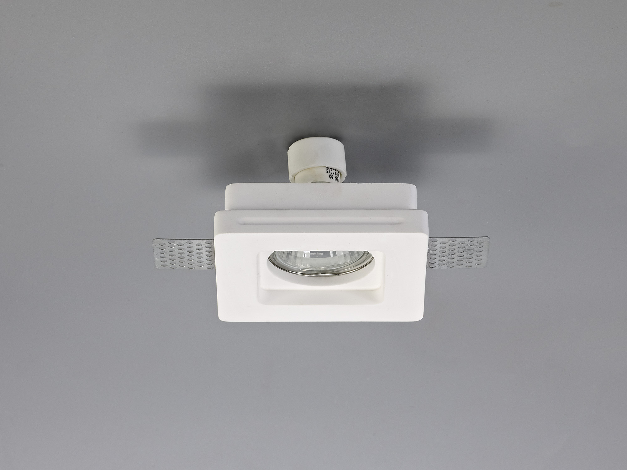 Square Stepped Recessed Spotlight, GU10, White Paintable Gypsum, Cut Out: L:103mmxW:103mm
