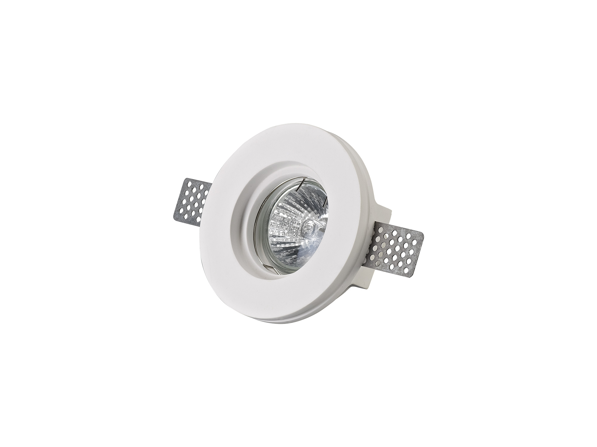 Round Stepped Recessed Spotlight, GU10, White Paintable Gypsum, Cut Out: D:103mm