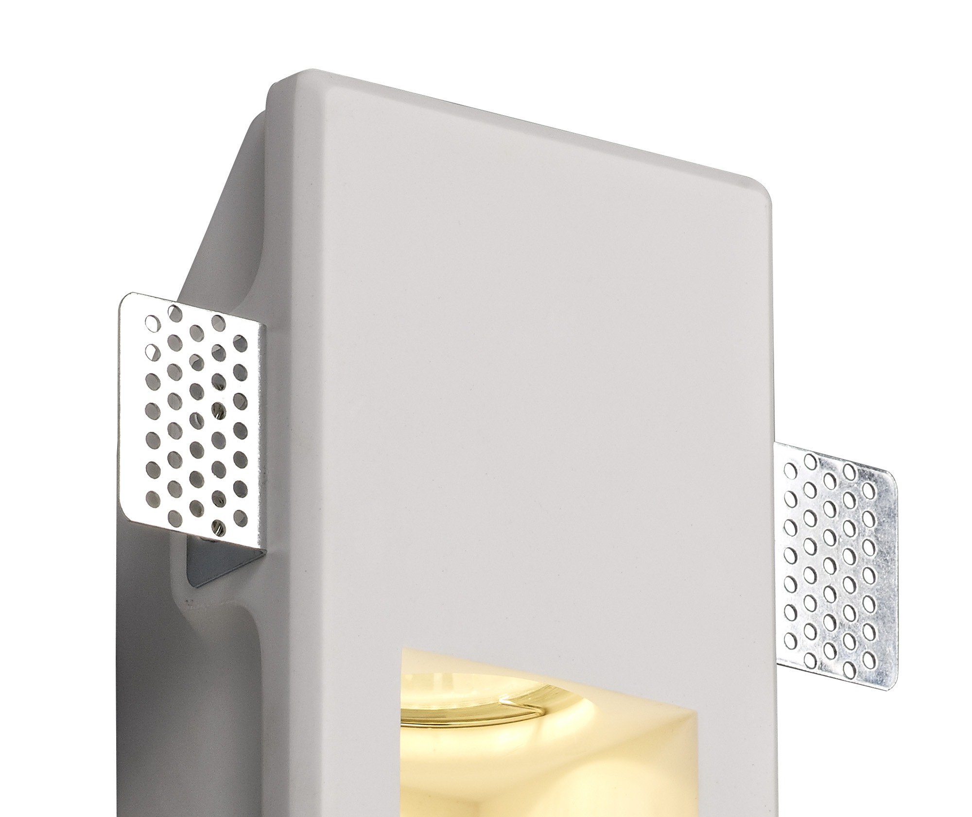 Small Recessed Wall Lamp, 1 x GU10, White Paintable Gypsum, Cut Out: L:253mmxW:103mm
