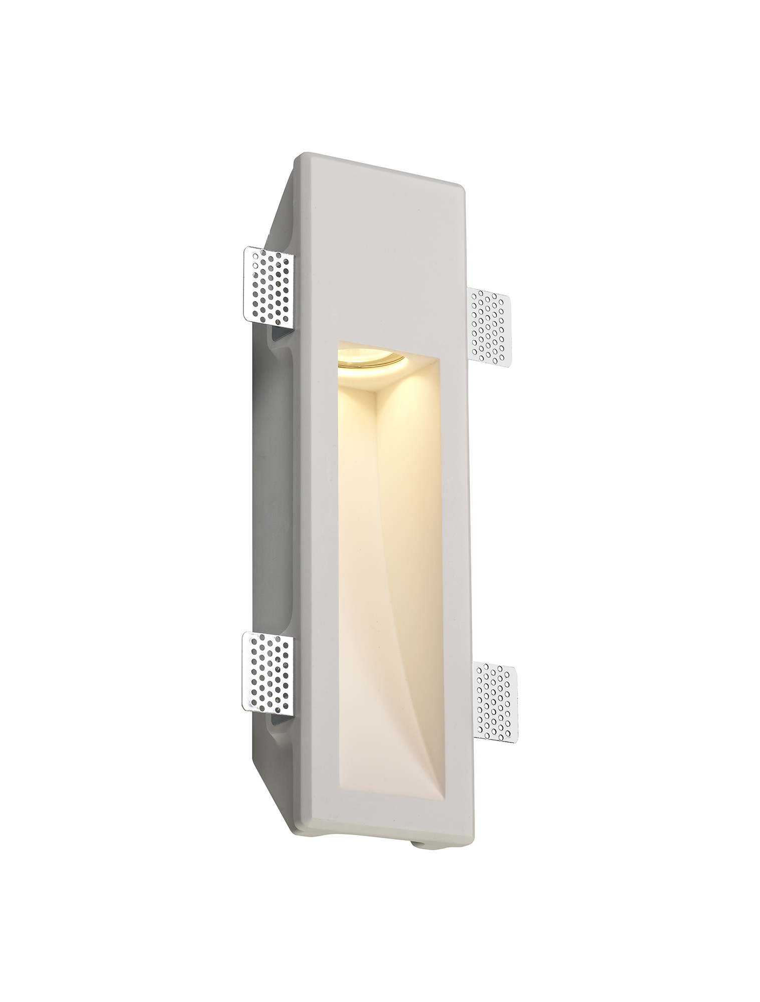 Medium Recessed Wall Lamp, 1 x GU10, White Paintable Gypsum, Cut Out: L:353mmxW:103mm
