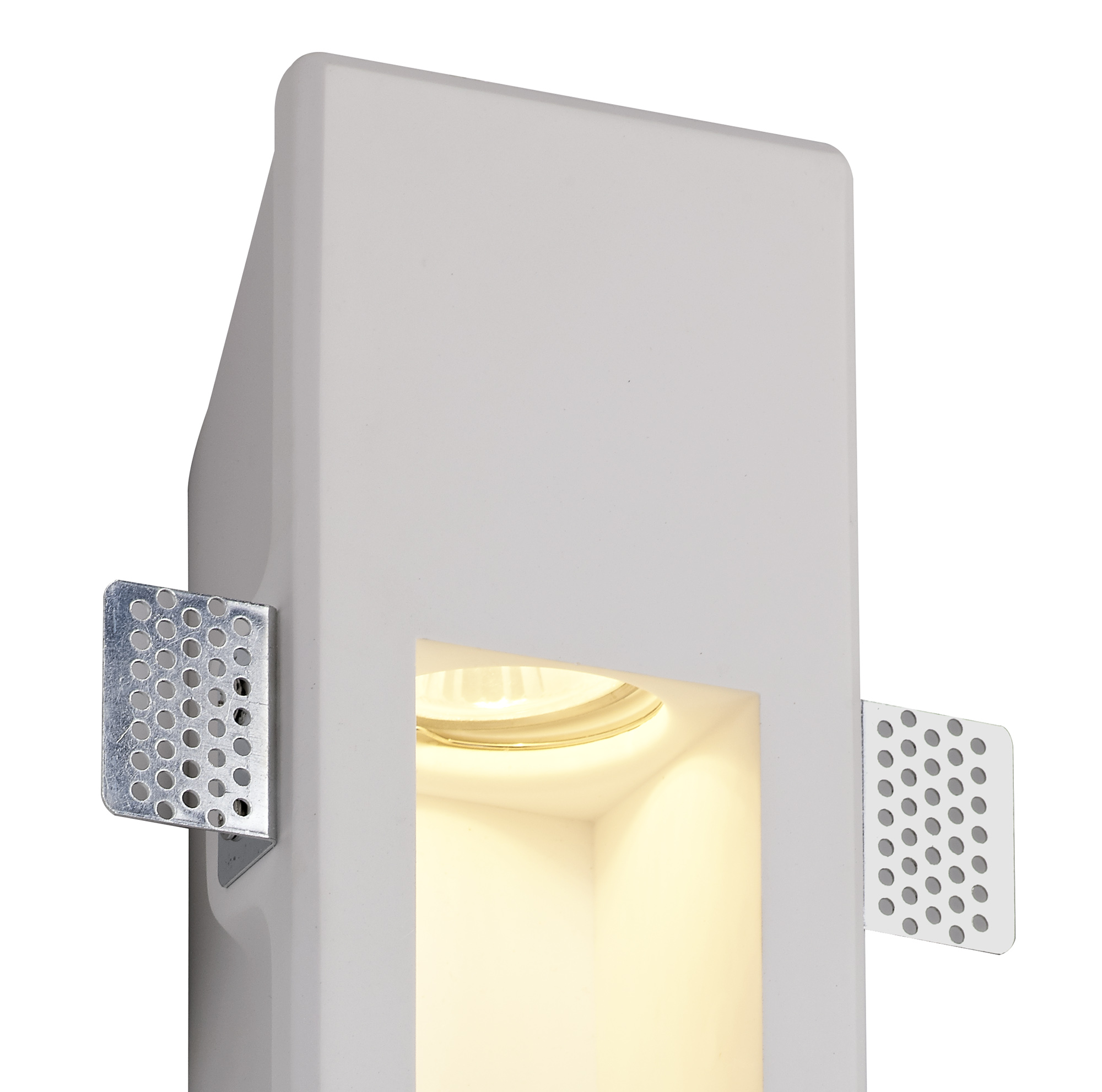 Large Recessed Wall Lamp, 1 x GU10, White Paintable Gypsum, Cut Out: L:453mmxW:103mm