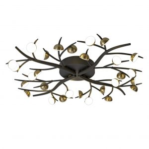 28 Light Semi-Flush, 28 x 3W LED, 3000K, 4400lm, Black/Antique Brass, 3yrs Warranty