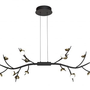 16 Light Linear Pendant, 16 x 3W LED, 3000K, 2640lm, Black/Antique Brass, 3yrs Warranty