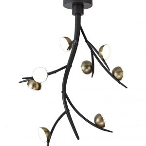 8 Light Ceiling Pendant, 8 x 3W LED, 3000K, 1320lm, Black/Antique Brass, 3yrs Warranty