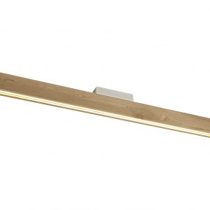 Ceiling, 2 x 18W LED, 3000K, 1528lm, Medium Oak, Matt White, 3yrs Warranty