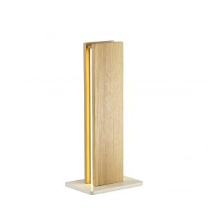 Table Lamp, 2 x 6W LED, 3000K, 450lm, Medium Oak/Matt White, 3yrs Warranty