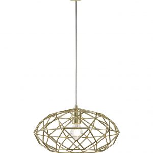 Elliptical Sphere Pendant, 1 x E27, Polished Brass