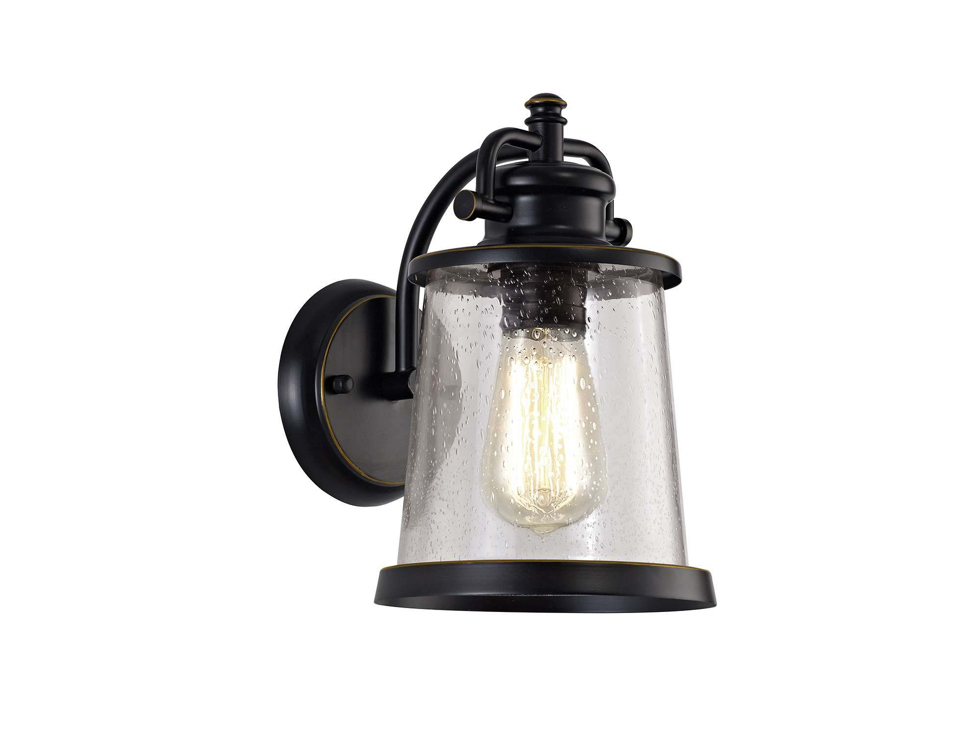 Wall Lamp, 1 x E27, Black/Gold With Seeded Clear Glass, IP54, 2yrs Warranty