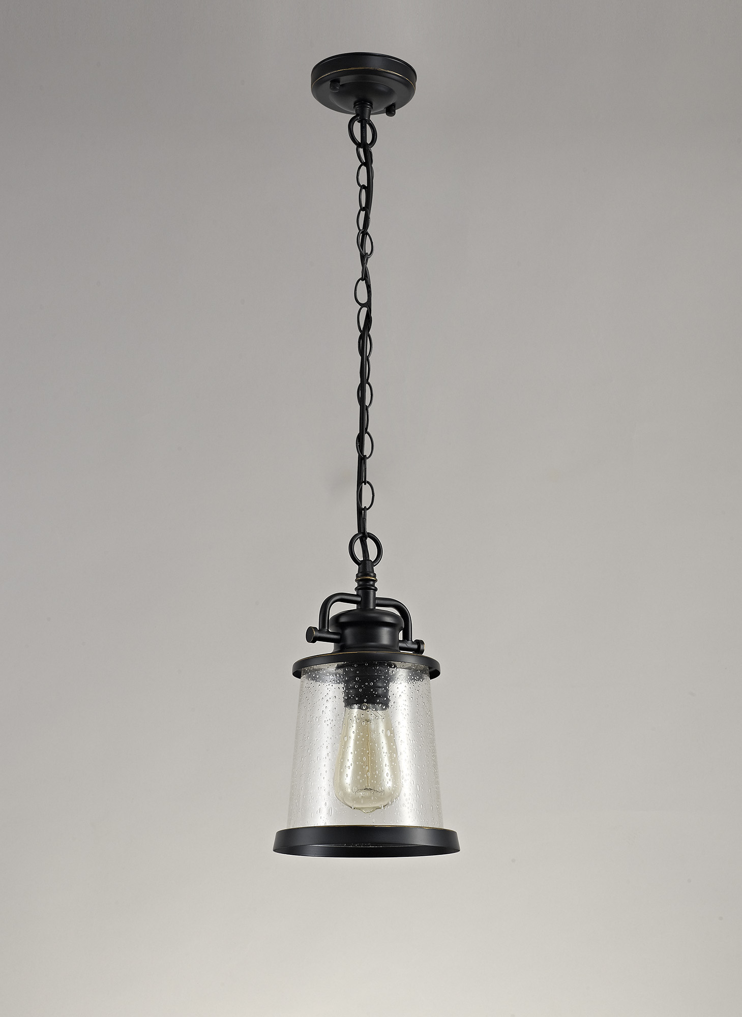 Pendant, 1 x E27, Black/Gold With Seeded Clear Glass, IP54, 2yrs Warranty