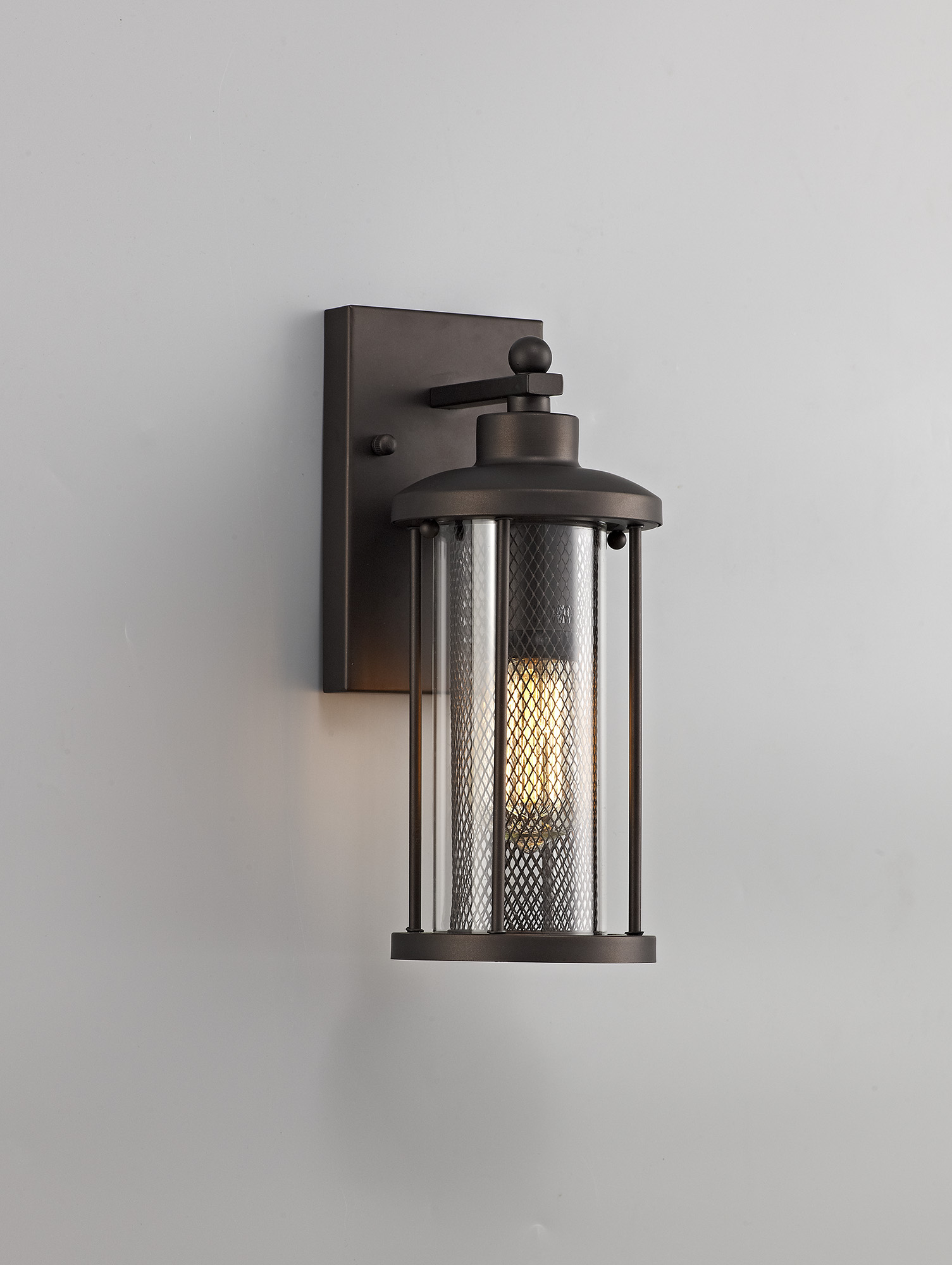 Small Wall Lamp, 1 x E27, Antique Bronze/Clear Glass, IP54, 2yrs Warranty