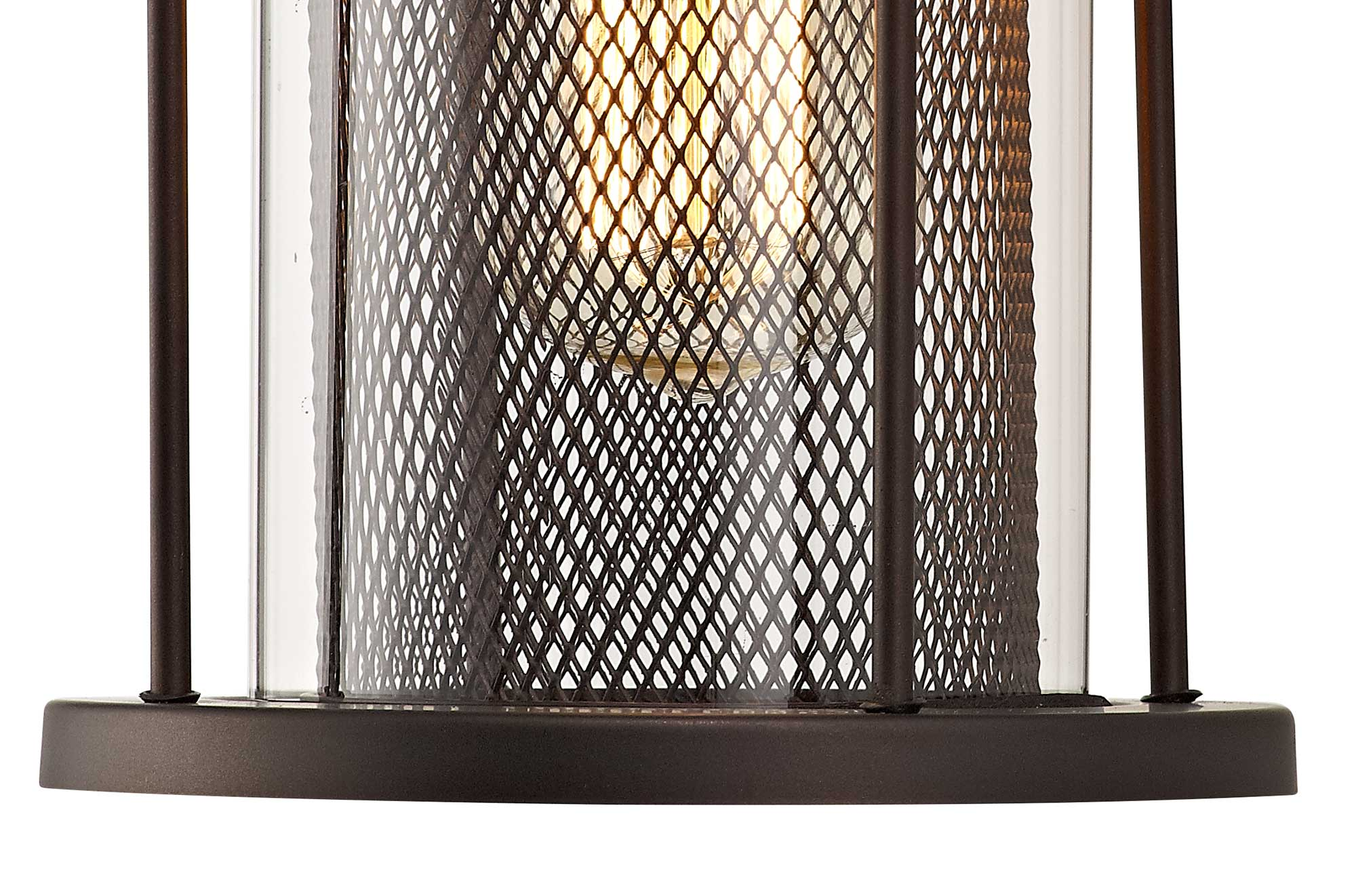 Large Wall Lamp, 1 x E27, Antique Bronze/Clear Glass, IP54, 2yrs Warranty
