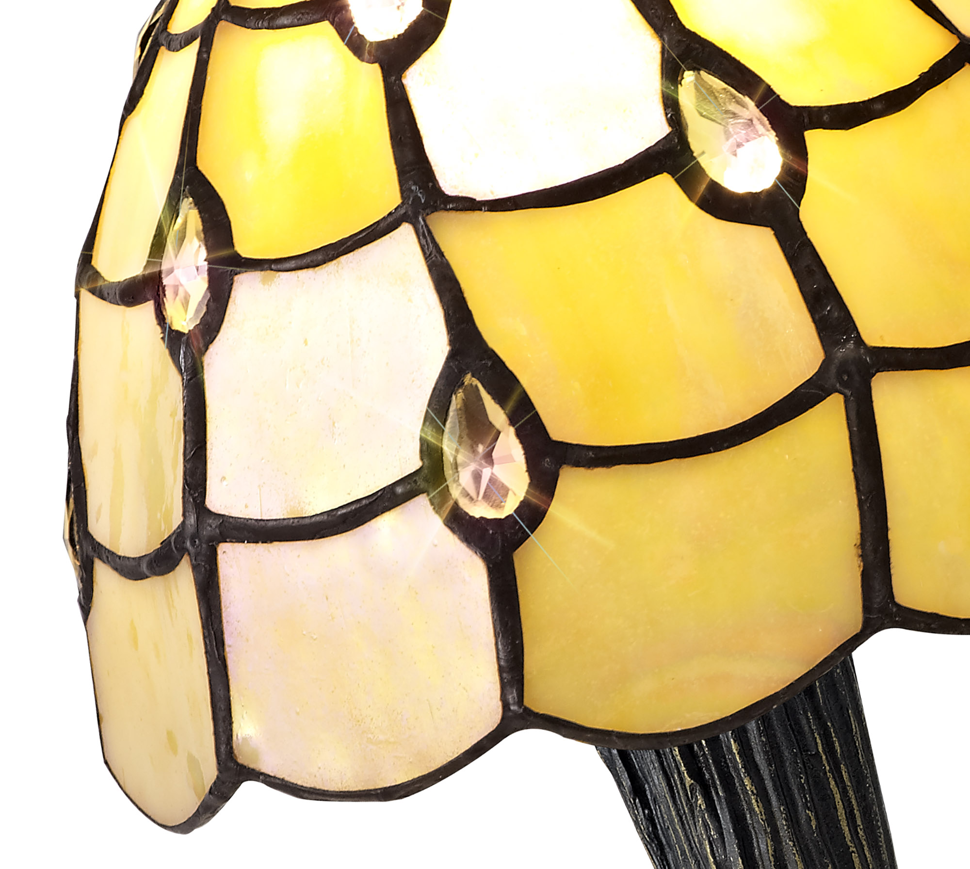 Tiffany Table Lamp, 1 x E14, Black/Gold, Beige/Clear Crystal Shade