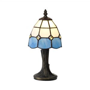 Tiffany Table Lamp, 1 x E14, White/Blue/Clear Crystal Shade