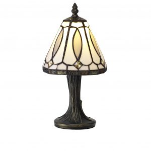 Tiffany Table Lamp, 1 x E14, White/Grey/Clear Crystal Shade