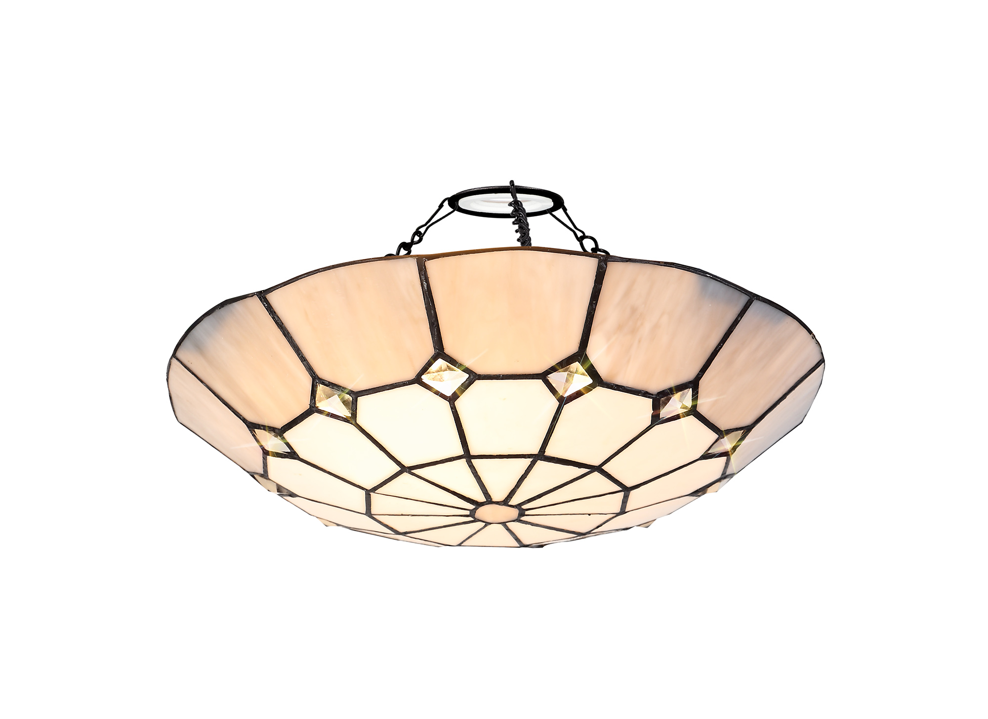 1 Light Pendant E27 With 35cm Tiffany Shade and Aged Antique Brass Trim