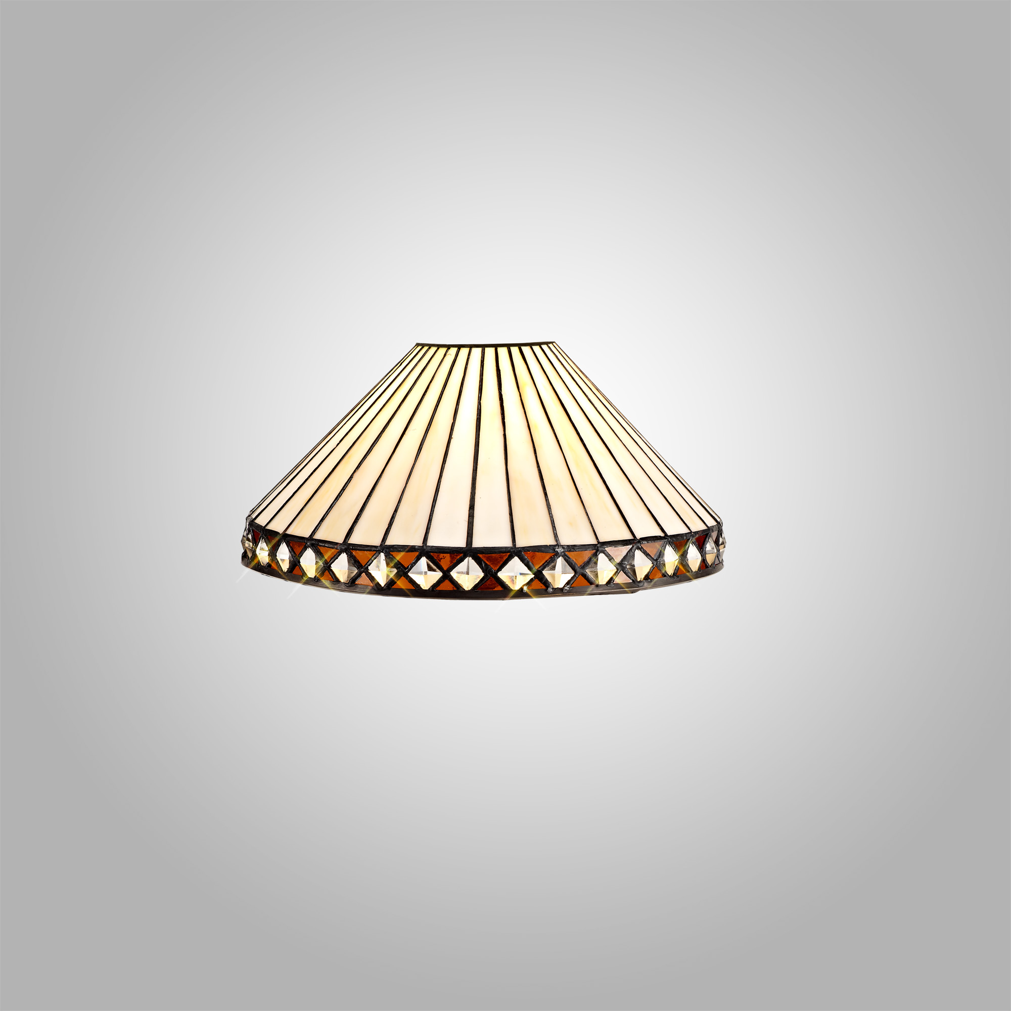 Tiffany 30cm Non-electric Shade Suitable For Pendant/Ceiling/Table Lamp, Amber/C/Crystal