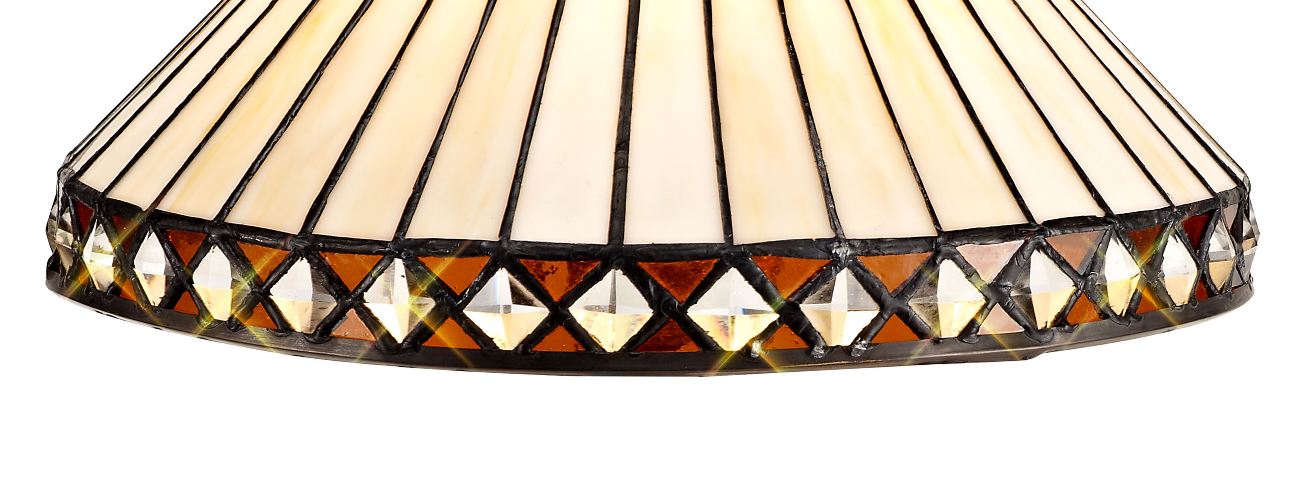3 Light Uplighter Pendant E27 With 30cm Tiffany Shade, Amber/C/Crystal/Aged Antique Brass