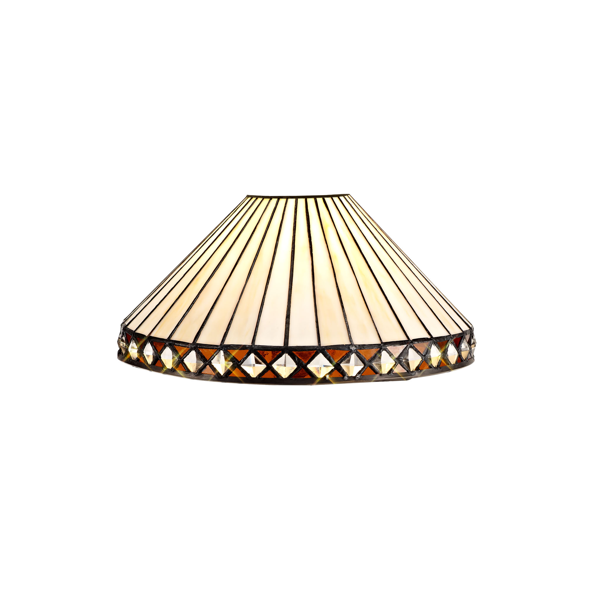 2 Light Downlighter Pendant E27 With 30cm Tiffany Shade, Amber/C/Crystal/Aged Antique Brass