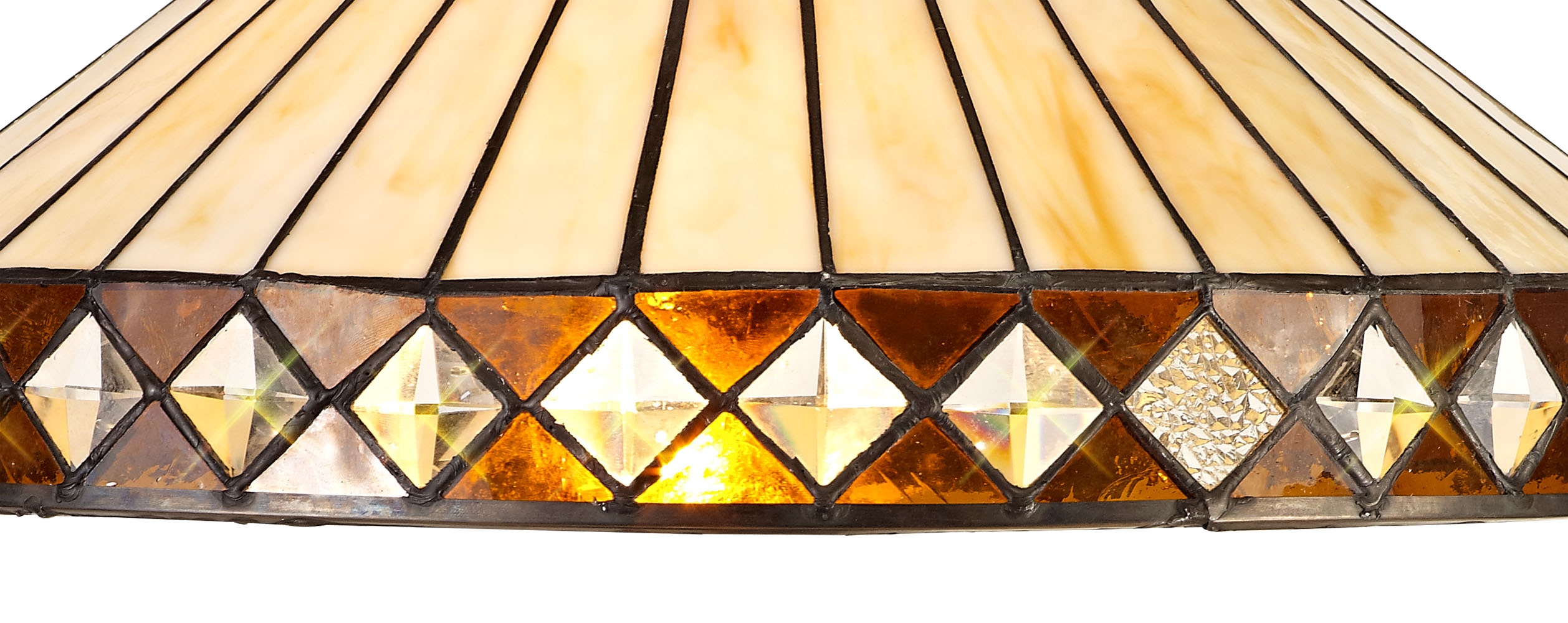 3 Light Downlighter Pendant E27 With 40cm Tiffany Shade, Amber/C/Crystal/Aged Antique Brass