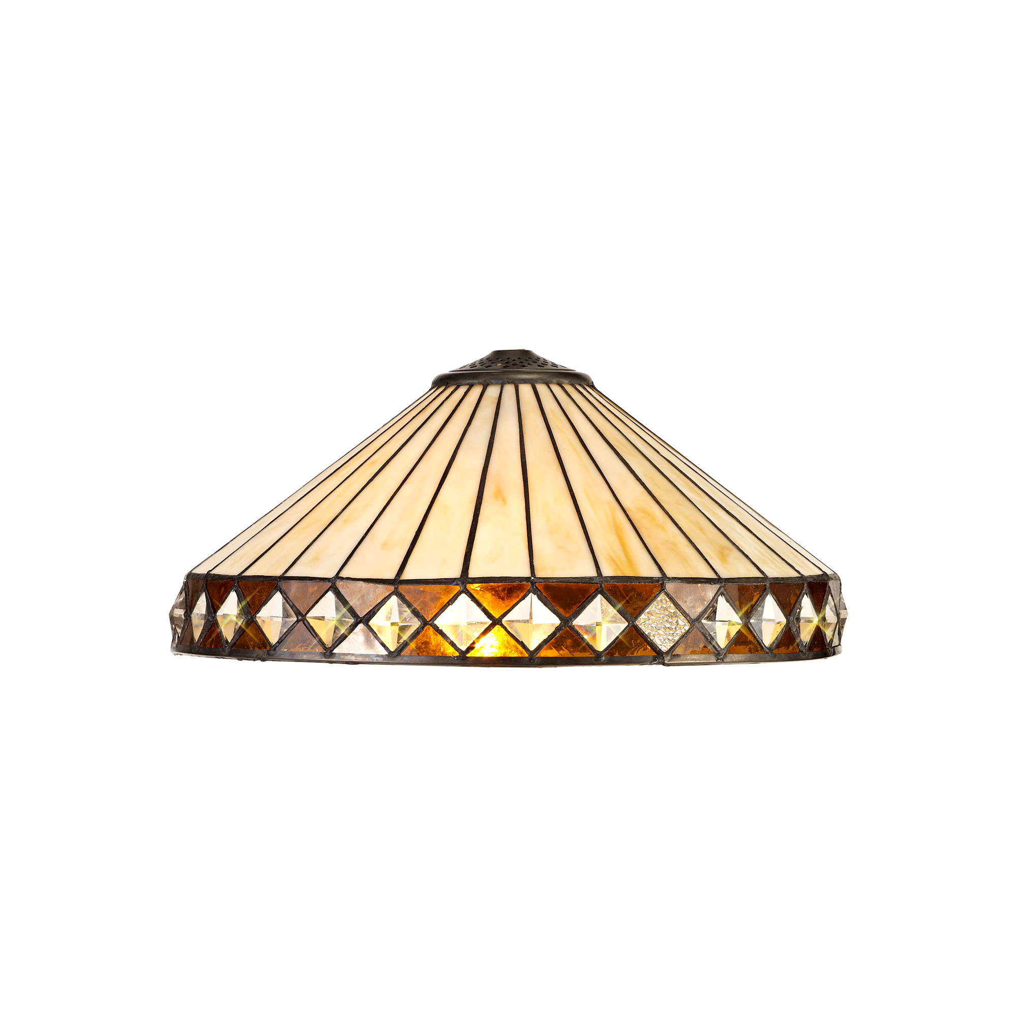 3 Light Uplighter Pendant E27 With 40cm Tiffany Shade, Amber/C/Crystal/Aged Antique Brass