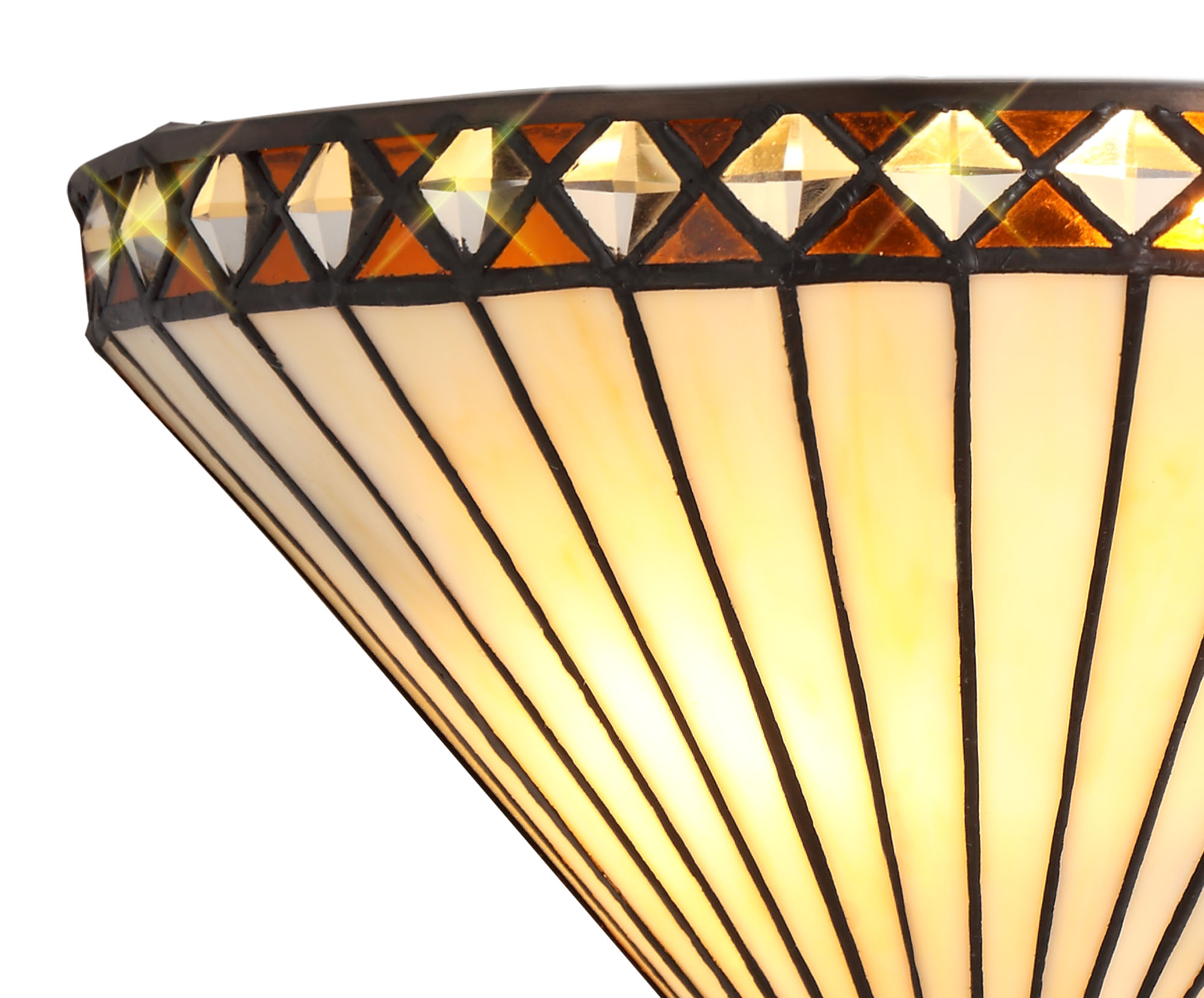 Tiffany Wall Lamp, 2 x E14, Amber/C/Crystal