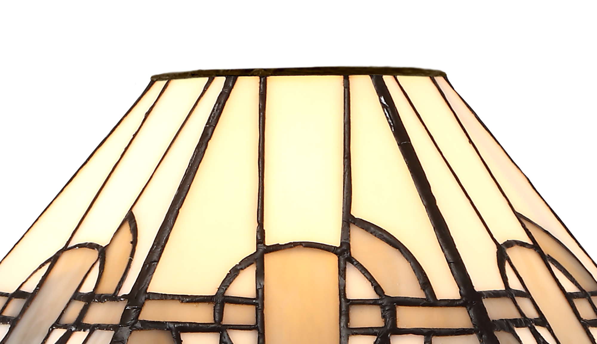 3 Light E27 Semi Ceiling With Tiffany Shade 30cm Shade, White/Grey/Black/Clear Crystal/Aged Antique Brass