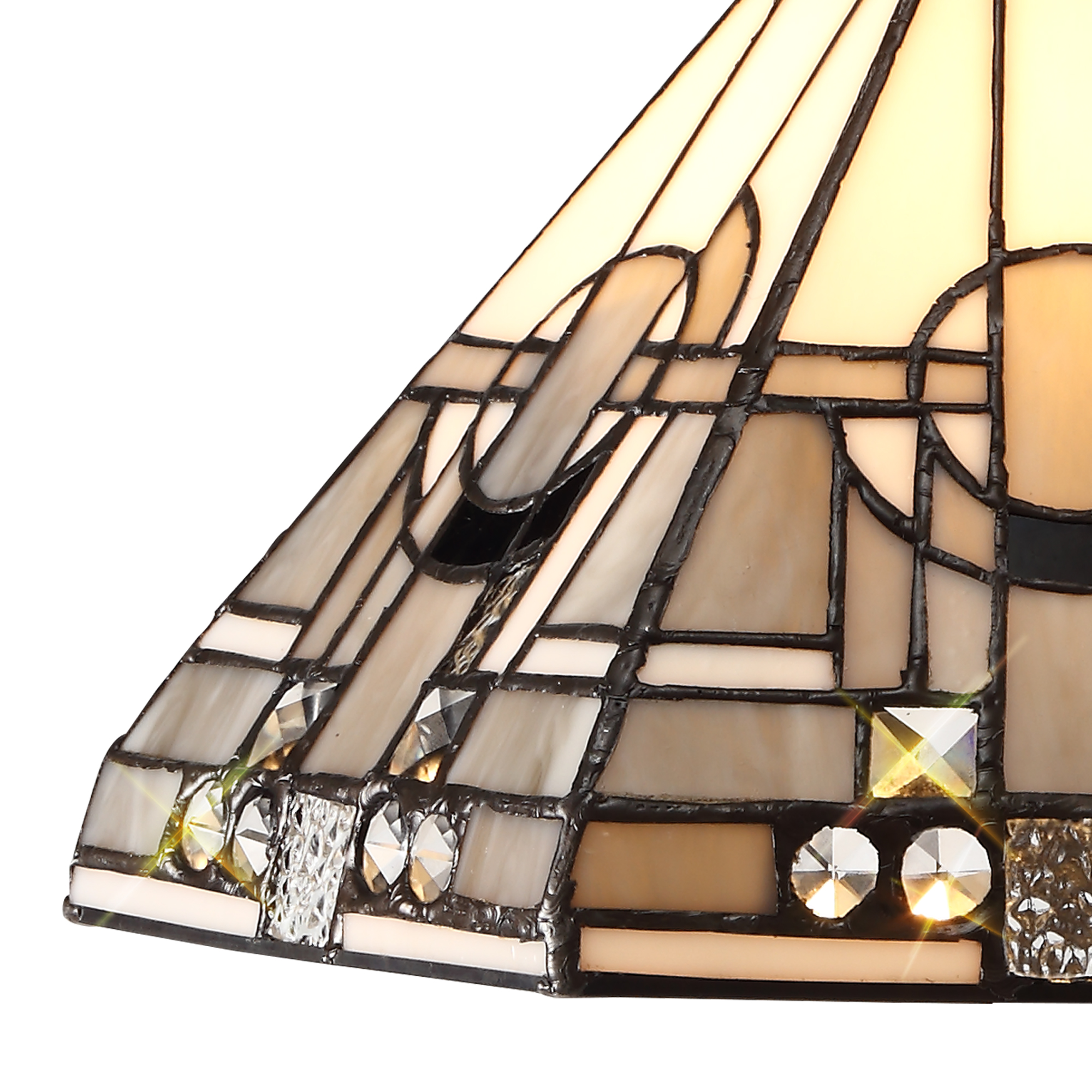 1 Light Uplighter Pendant E27 With 30cm Tiffany Shade, White/Grey/Black/Clear Crystal