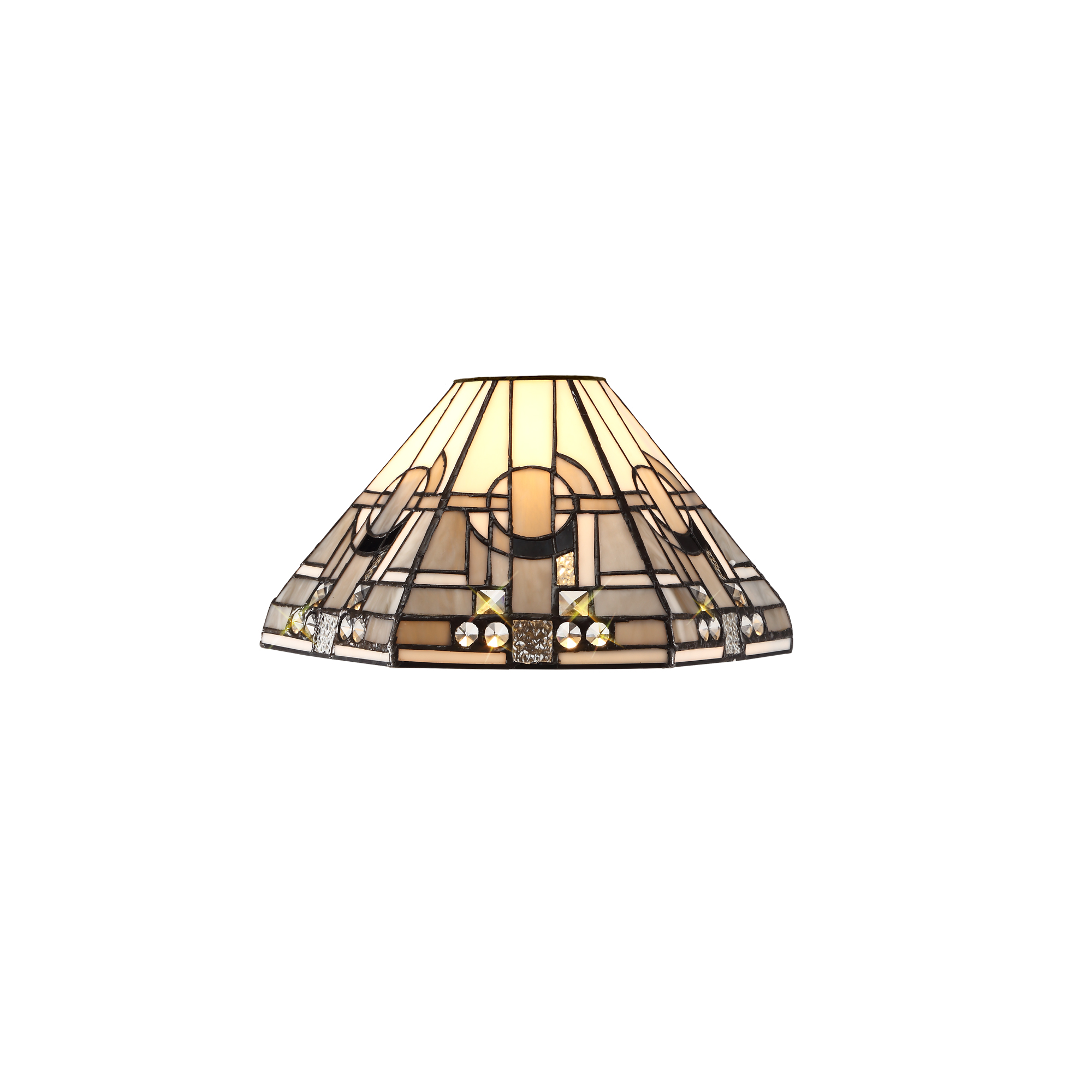 2 Light Uplighter Pendant E27 With 30cm Tiffany Shade, White/Grey/Black/Clear Crystal/Aged Antique Brass