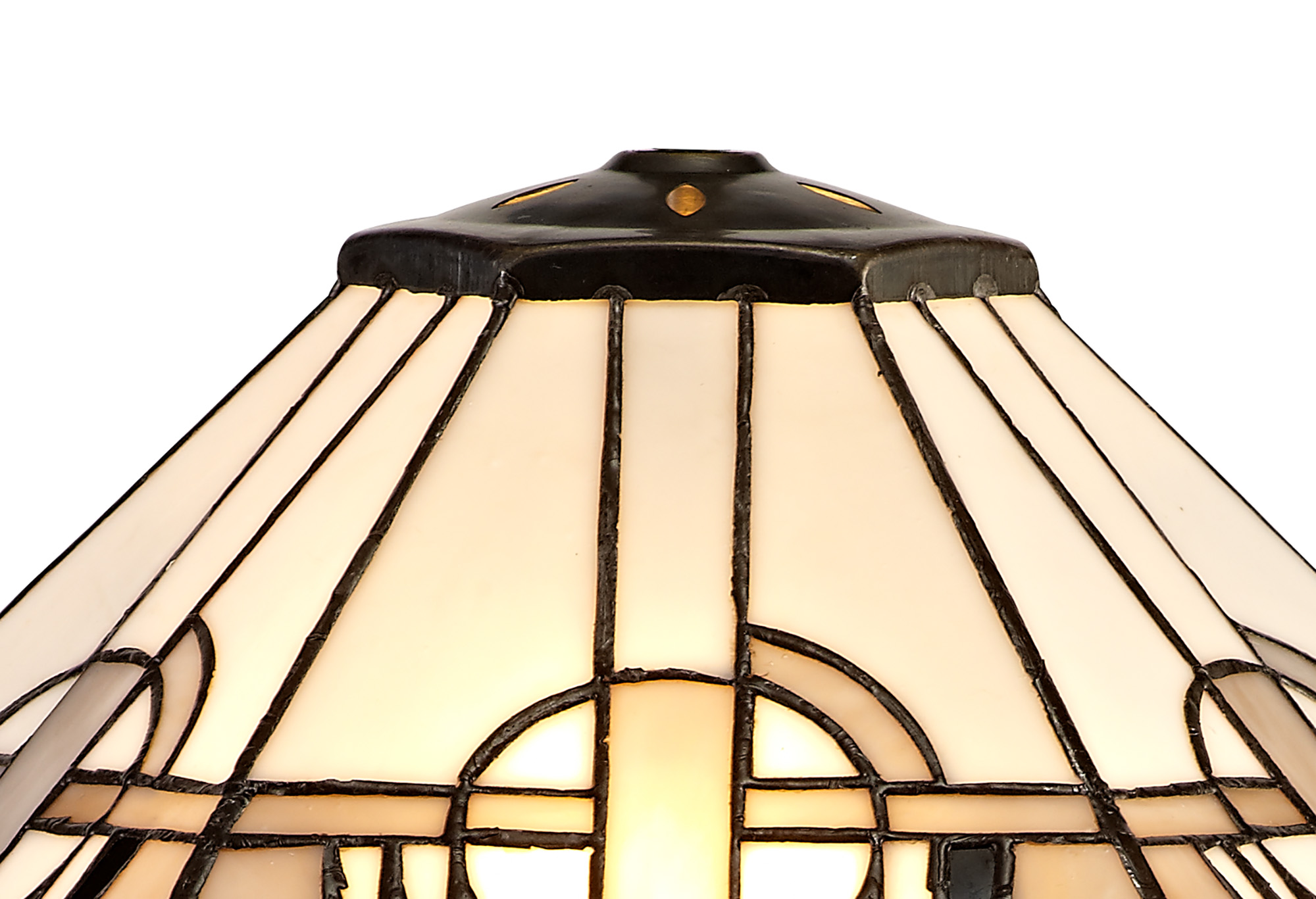 2 Light Octagonal Floor Lamp E27 With 40cm Tiffany Shade, White/Grey/Black/Clear Crystal/Aged Antique Brass