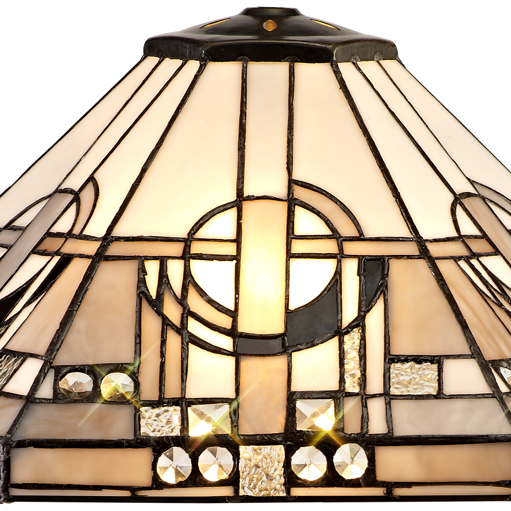 3 Light Uplighter Pendant E27 With 40cm Tiffany Shade, White/Grey/Black/Clear Crystal/Aged Antique Brass