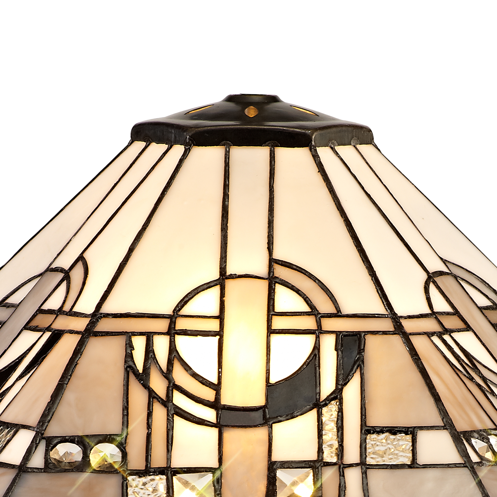 Tiffany 40cm Shade Only Suitable For Pendant/Ceiling/Table Lamp, White/Grey/Black/Clear Crystal