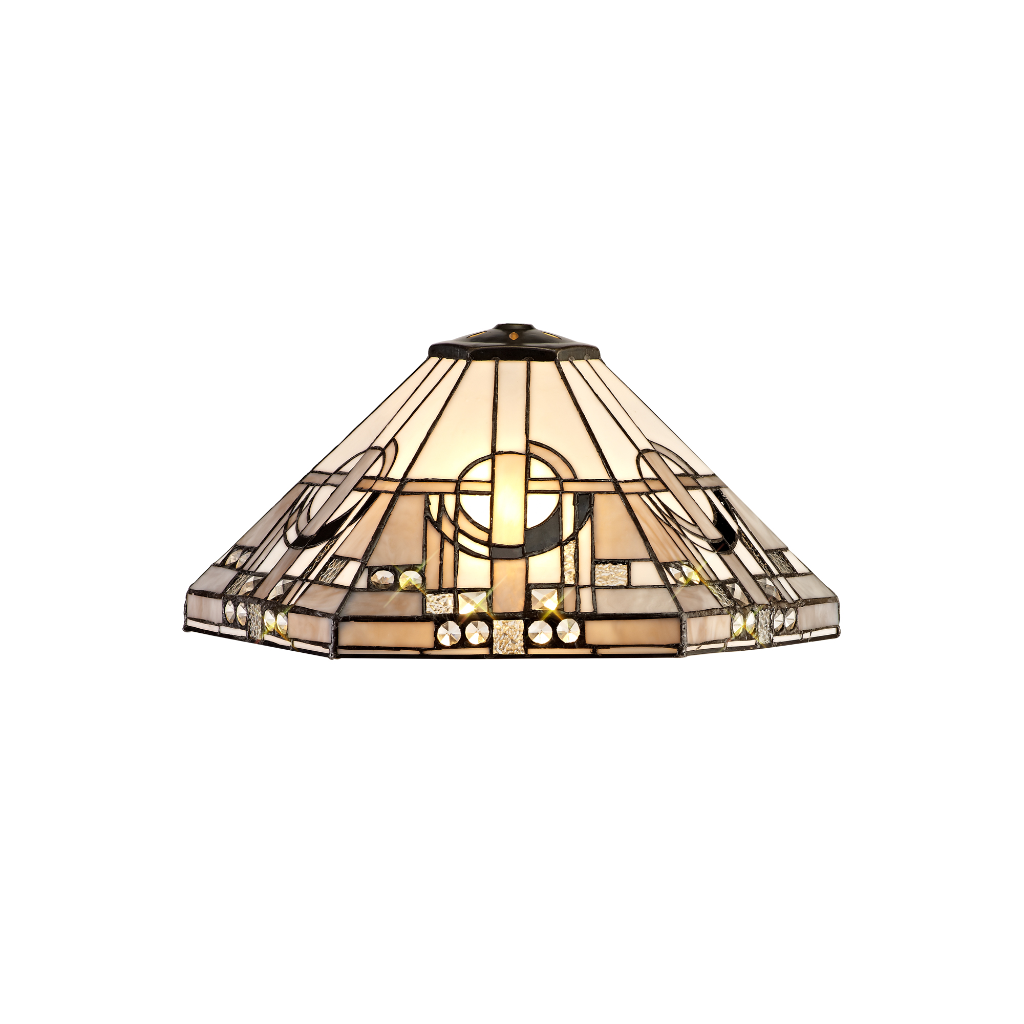 1 Light Downlighter Pendant E27 With 40cm Tiffany Shade, White/Grey/Black/Clear Crystal/Aged Antique Brass